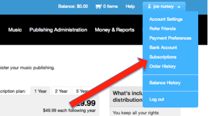 TuneCore Account Settings